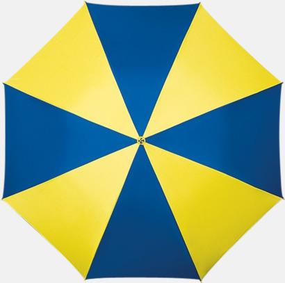 Gul/Blå Golfparaplyer med ergonomiska trähandtag