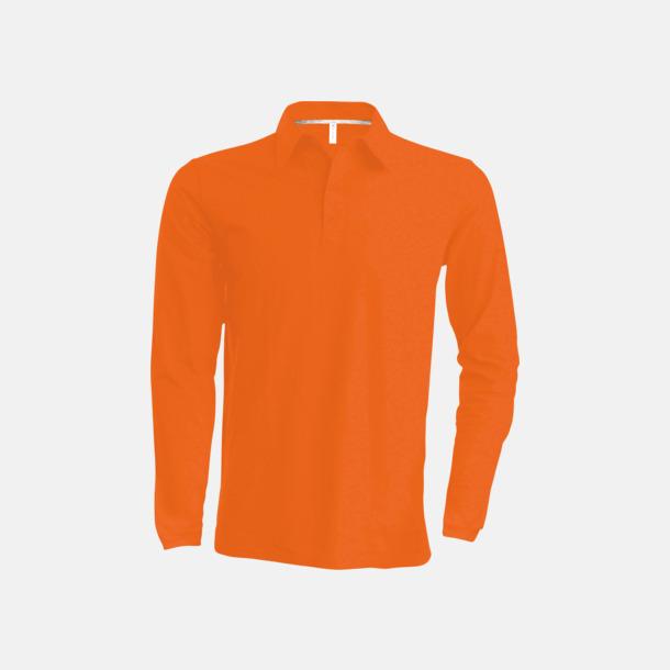 Orange Långärmade herrpikéer i många färger med reklamtryck