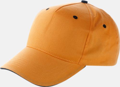 Orange / Svart Billiga sandwichkepsar med egen bordyr