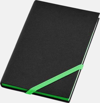 Svart/Neongrön (A6) Anteckningsböcker i A5- och A6-format med reklamtryck