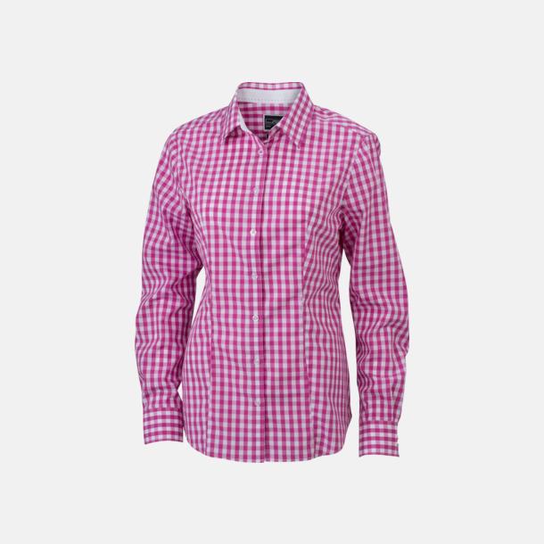 Mörklila/Vit (dam) Rutiga bomullsskjortor & -blusar med reklamtryck