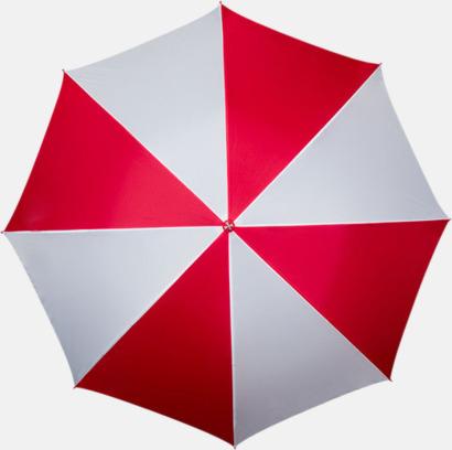 Röd / Vit Golfparaplyer med ergonomiska trähandtag