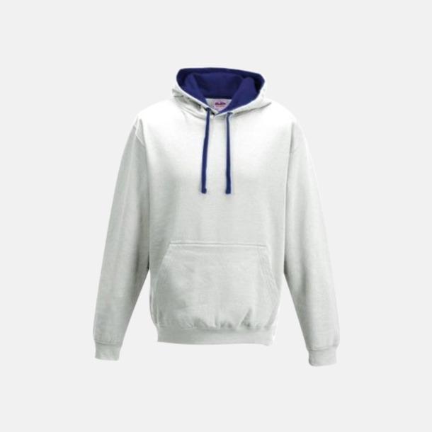 Arctic White/French Navy Huvtröjor med insida av luva och dragsko i kontrasterande färg - med reklamtryck