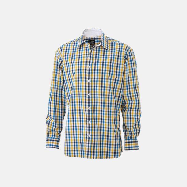 Vit/Blå-Gul/Vit (herr) Rutiga bomullsskjortor & -blusar med reklamtryck