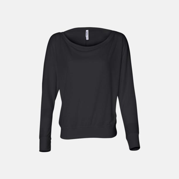 Svart Långärmade dam t-shirts med reklamtryck