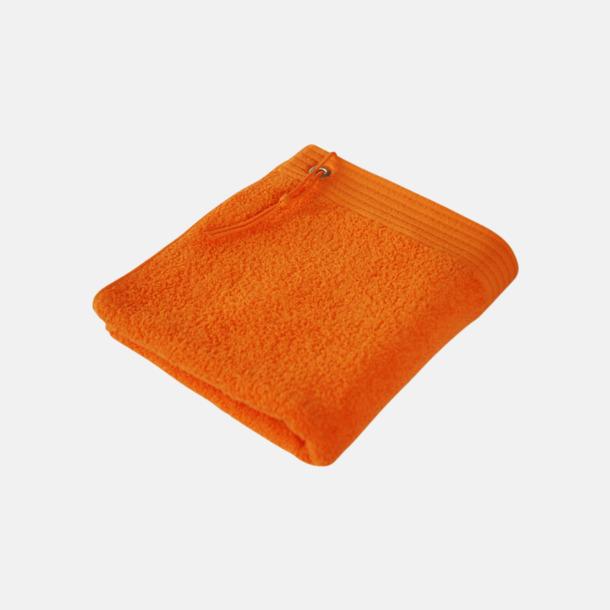 Orange Gästhanddukar med metallögla och snöre - med brodyr