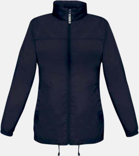 Marinblå (dam) Vind- och vattentäta jackor för dam, herr och barn - med tryck