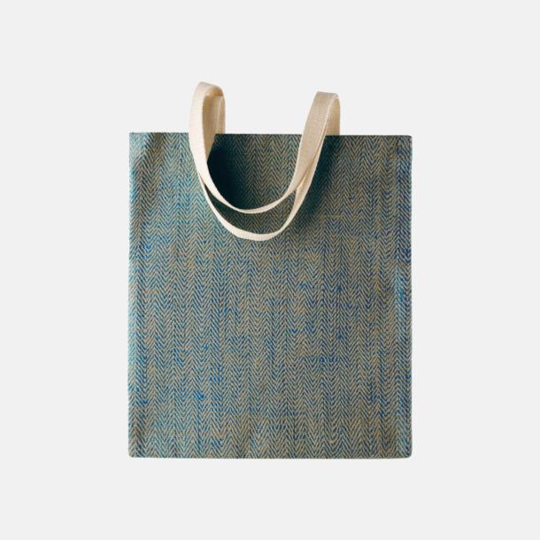 Ink Blue/Natur Miljövänliga jutebagar med reklamtryck