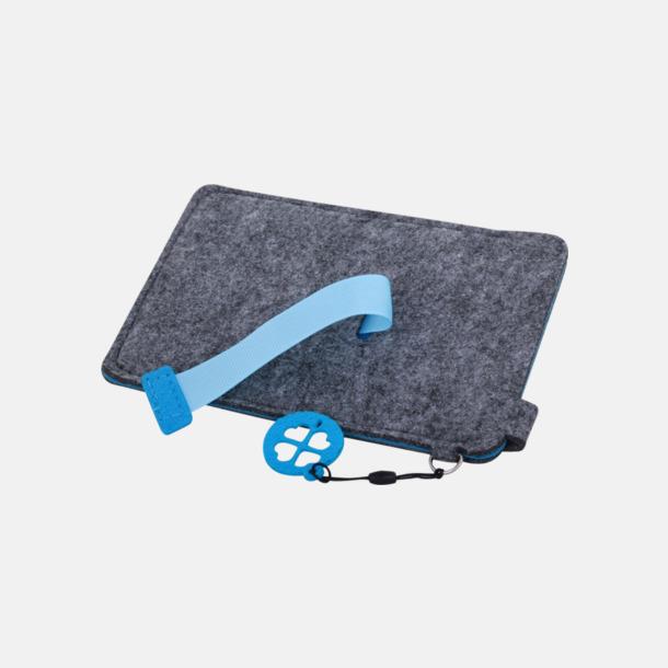 Grå/Blå (stor 3) Mobilfodral i filt med reklamtryck