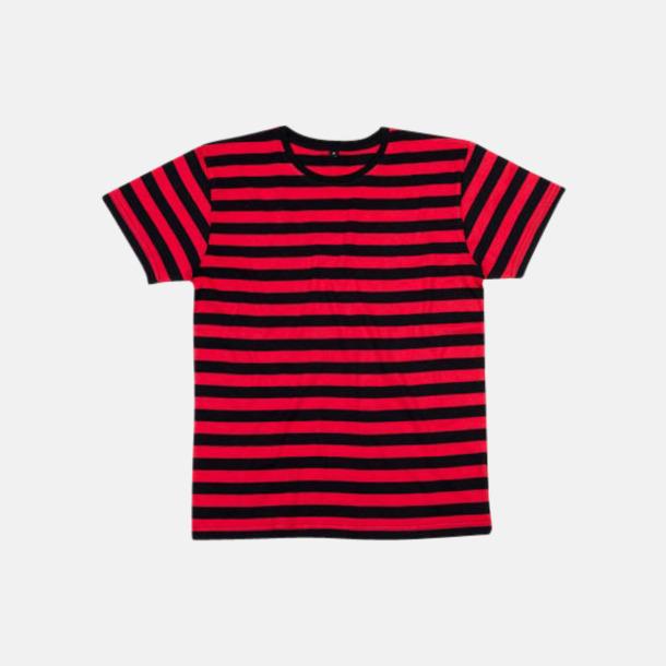 Svart/Röd (herr) Randiga t-shirts i herr-, dam- och barnmodell med reklamtryck