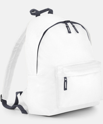Vit/Graphite Grey Klassisk ryggsäck i 2 storlekar med eget tryck