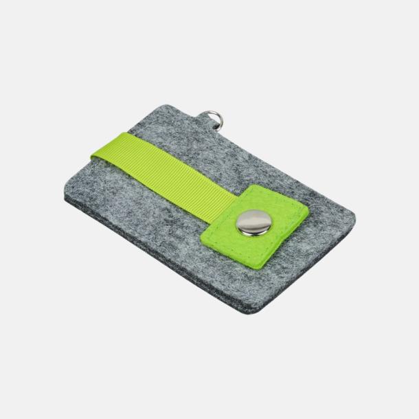 Grå/Limegrön Nyckelringsfoldrar i filt med reklamtryck