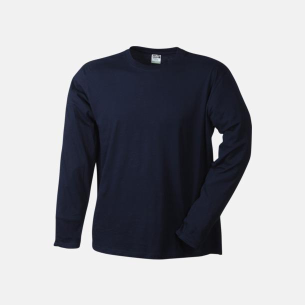 Marinblå (herr) Långärmade t-shirts i herr-, dam- & barnmodell med reklamtryck