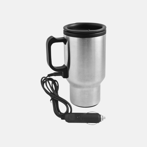 Silver/svart Uppvärmningsbar kaffemugg - värms via cigarettändaruttaget