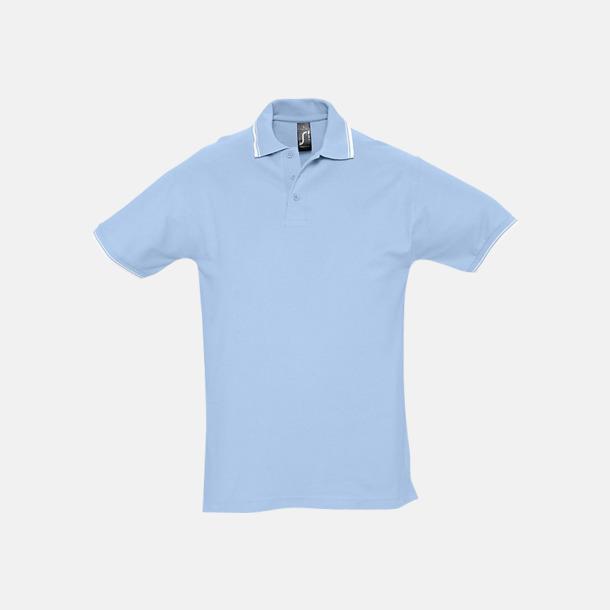 Sky Blue/Vit (herr) Snygga pikétröjor för herr och dam
