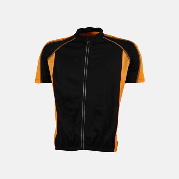 Svart/Orange (herr) Herr- och damcykeltröjor med hel dragkedja - med reklamtryck