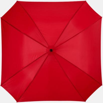 Röd Billiga paraplyer i fyrkantig form - med reklamtryck