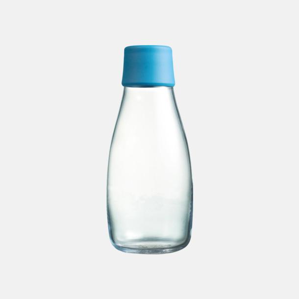Light Blue Mindre vattenflaskor av glas med reklamtryck