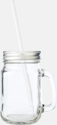 Transparent / Silver 400 ml-glasburk med lock och sugrör - med reklamtryck