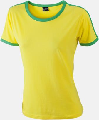 Gul/Frog (dam) T-shirts med kontrastfärger - med reklamtryck