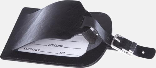 Svart Bagagebrickor i läder från Mauro Conti - med reklamtryck