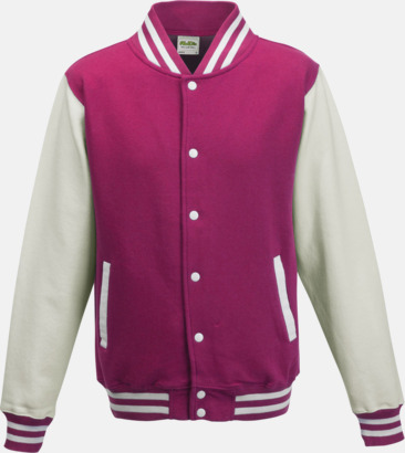 Hot Pink/Vit Trendiga varsity-jackor med tryck