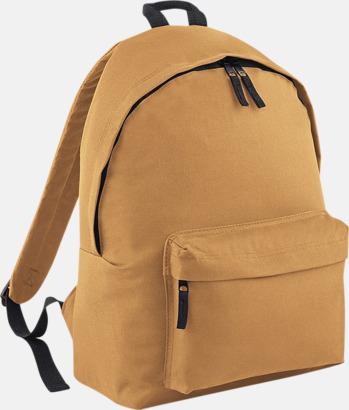 Caramel Klassisk ryggsäck i 2 storlekar med eget tryck