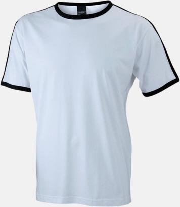 Vit/Svart (herr) T-shirts med kontrastfärger - med reklamtryck