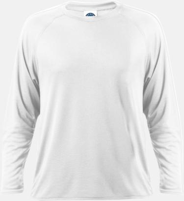 Vit Långärmade funktionströjor med reklamtryck