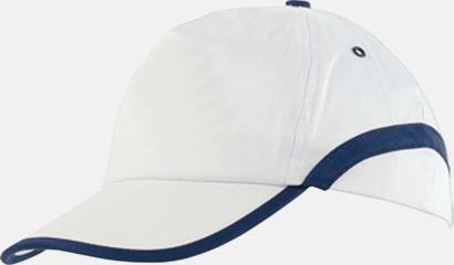 Vit / Blå Snygga och billiga kepsar med reklamtryck