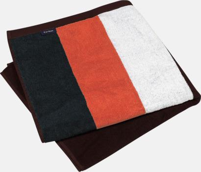 Svart/Orange/Vit/Chocolate Stora, randiga strandhanddukar med reklambrodyr