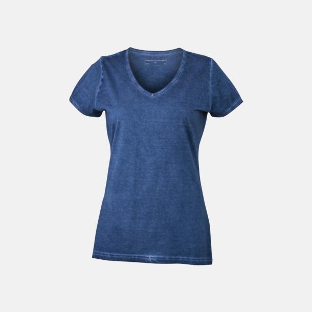 Denim (dam) Trendiga v-neck t-shirts i herr- och dammodell med reklamtryck