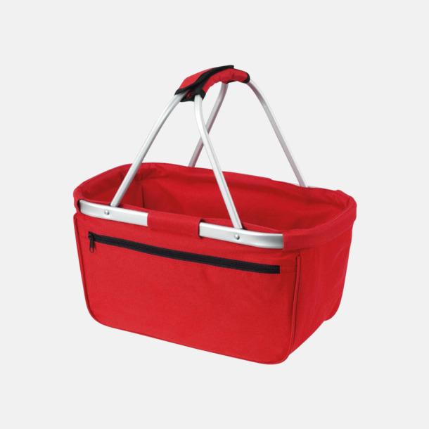 Röd  Shopping- & picknickkorg med reklamtryck