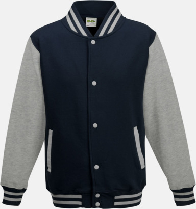 Oxford Navy/Heather Grey Trendiga varsity-jackor för barn - med reklamtryck