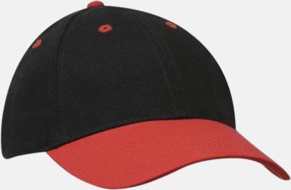 Svart / Röd klassiska basebollkepsar med reklambrodyr
