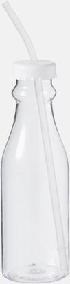 Vit Drickflaskor med sugrör - med reklamtryck