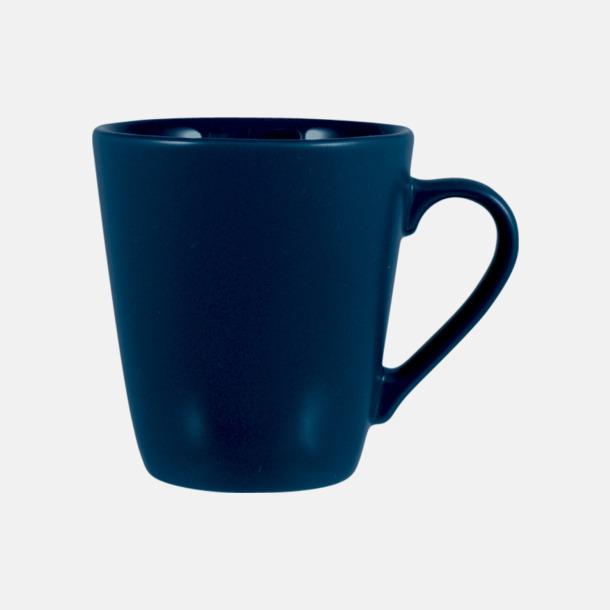 Marinblå Kaffemuggar i stengodsmuggar med reklamtryck