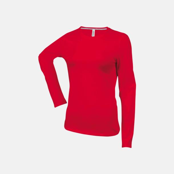Röd (crewneck, dam) Långärmad t-tröja med rundhals för herr och dam med reklamtryck