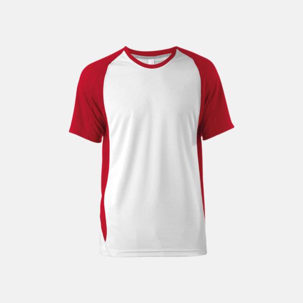 Vit/Röd Tvåfärgade funktionströjor för män - med reklamtryck