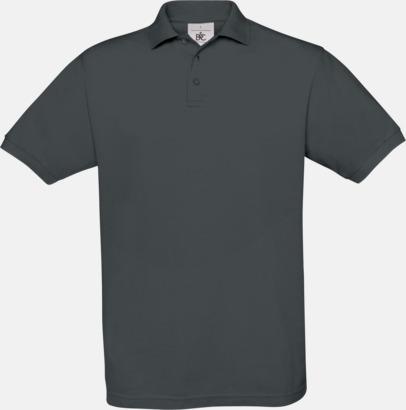 Dark Grey (solid) Kortärmade pikétröjor med egen brodyr