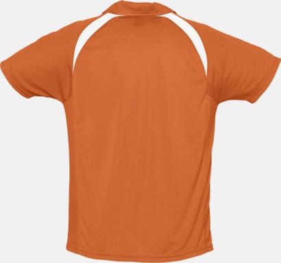 Färgglada pikétröjor i funktionsmaterial med tryck