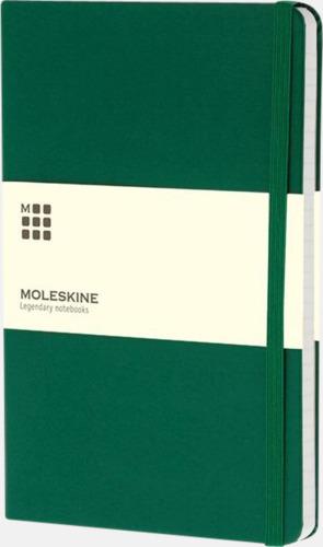 Grön (ruled) Moleskines stora anteckningsböcker (ca A5) med linjerade eller rutade sidor - med reklamtryck