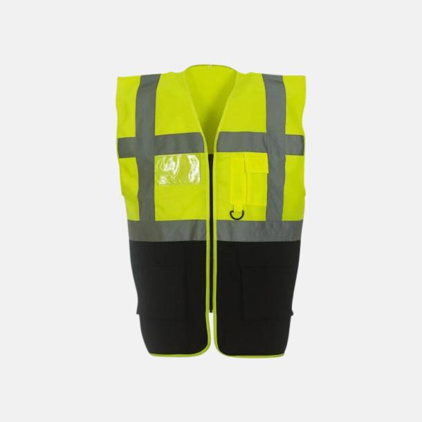 Hi-Vis Yellow/Svart Varselvästar med 2-färgade modeller - med reklamtryck