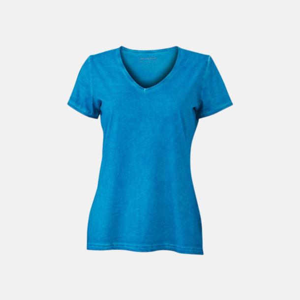 Turkos (dam) Trendiga v-neck t-shirts i herr- och dammodell med reklamtryck