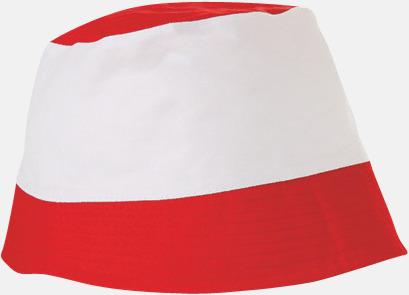 Röd / Vit Bomullshattar i enfärgade- och tvåfärgade varianter med reklamtryck