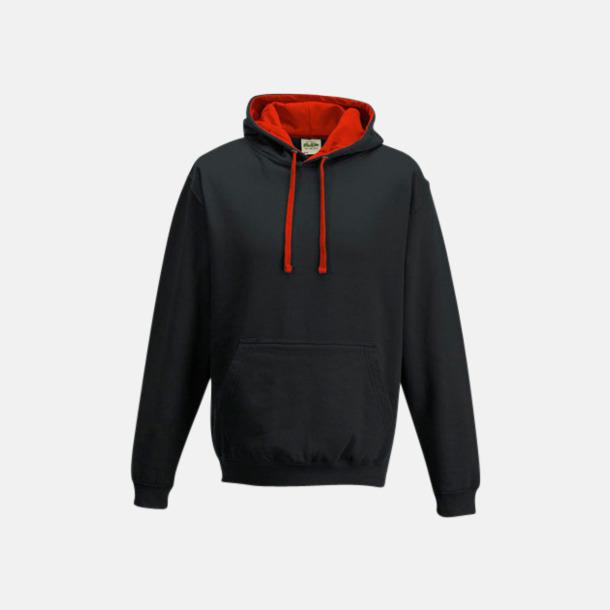 Jet Black/Fire Red Huvtröjor med insida av luva och dragsko i kontrasterande färg - med reklamtryck