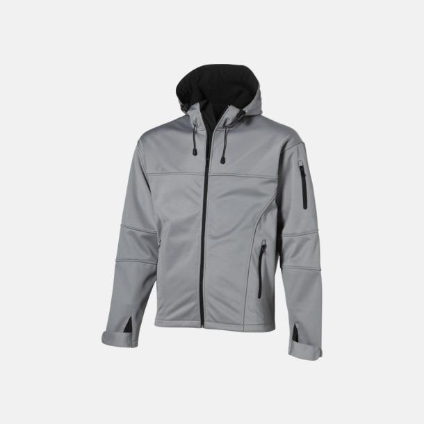 Grå (solid)/Svart (herr) Soft-shell-jackor i herr- & dammodell med reklamtryck