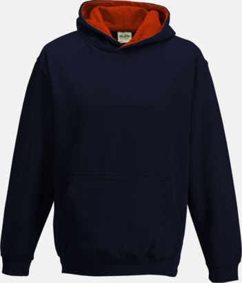 New French Navy/Fire Red Varsity Hoodie Contrast i barnmodell med reklamtryck