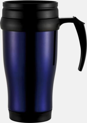 Blå 0,35 liter termosmuggar med spillskydd - med tryck