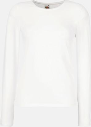 Vit Långärmad damt-shirt med reklamtryck